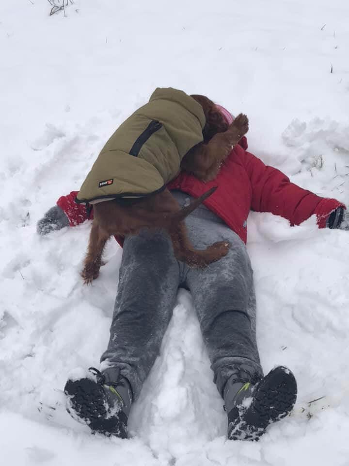 Egy kis játék a szetterel a hóban