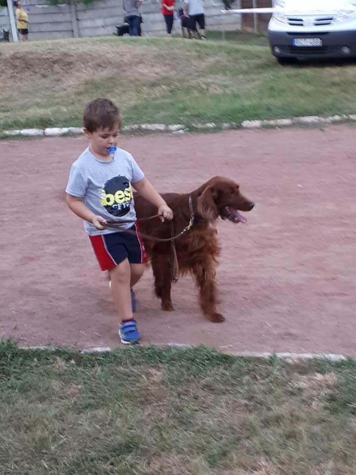 Gabika kutyát sétáltat